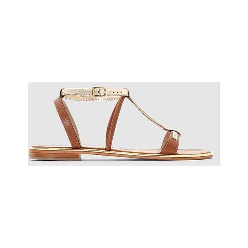 Płaskie, skórzane sandały haquina marki Les tropeziennes par m.belarbi