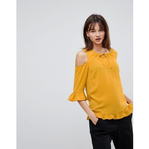 sussi cold shoulder blouse - yellow marki Y.a.s