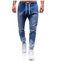 Spodnie jeansowe joggery męskie niebieskie Denley 2047, jeansy