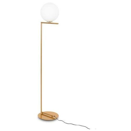 Italux Stojąca lampa podłogowa mondo mle3081/1 salonowa oprawa szklana kula ball biała