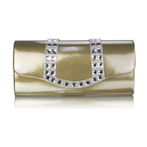 Złota lakierowana wizytowa torebka damska - złoty marki Wielka brytania