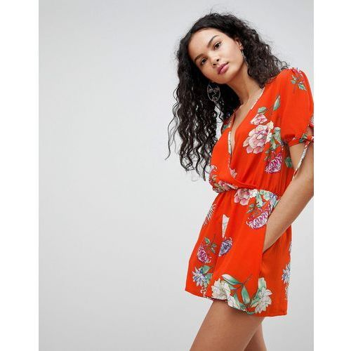 floral print playsuit - red marki Qed london