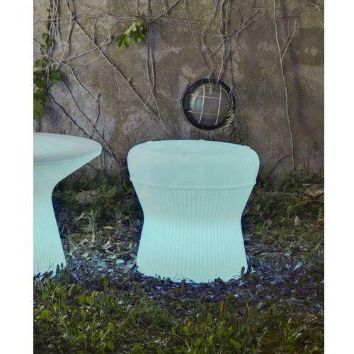 New garden stołek corfu 40 solar biały - led, sterowanie pilotem marki Sofa.pl