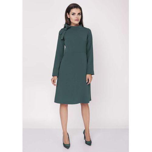 Zielona Wizytowa Sukienka Midi ze Stójką i Kokardką, w 6 rozmiarach