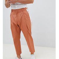Noak wide leg smart trouser in camel with side stripe - brown