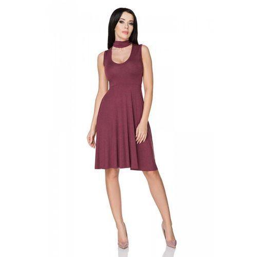 Bordowa Sukienka Wiązana na Karku, kolor czerwony