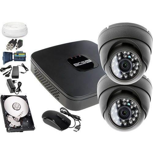 Monitoring zewnętrzny domu jednorodzinnego: hybrydowy Rejestrator BCS-XVR0401E, 2x kamera zewnętrzna LV-AL25MD, 1TB, akces, ZM8975