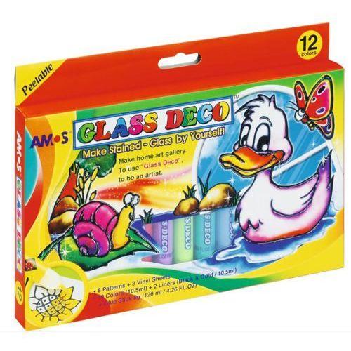 Farby witrażowe Glass Deco 12 kolorów blister AMOS (8802946500192)