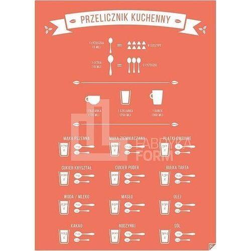 Plakat przelicznik kuchenny czerwony 40 x 50 cm marki Follygraph