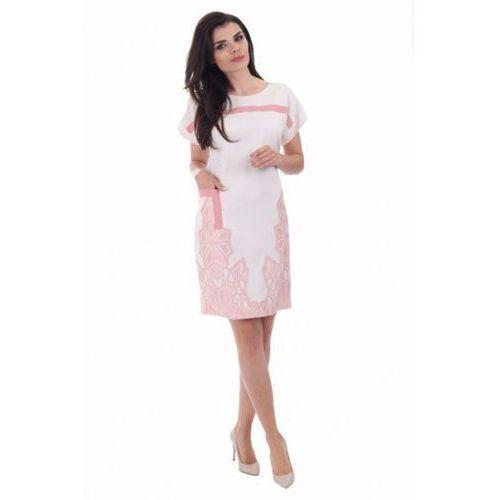 Sukienka dzienna Model 915 Ecru, kolor beżowy
