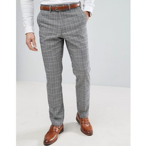 prince of wales blue check slim fit suit trousers - grey marki French connection