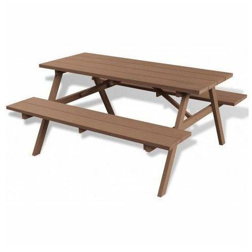 Stół ogrodowy z ławkami hint - brązowy marki Elior