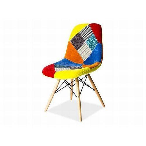 Signal Krzesło drewniane  pascal c patchwork - styl skandynawski