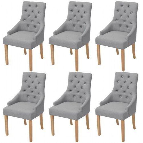 Dębowe krzesła do jadalni, tapicerowane tkaniną, jasnoszare, 6 szt.