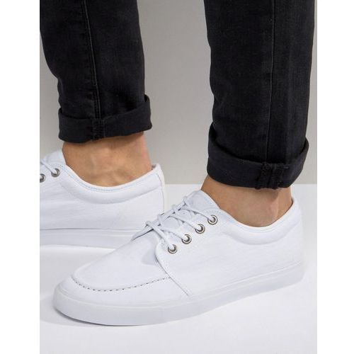 ASOS Lace Up Plimsolls in White Canvas - White, kolor biały