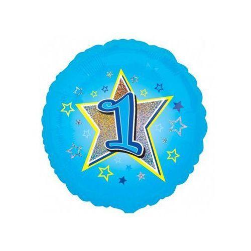 Balon foliowy niebieski gwiazda z jedynką na roczek - 47 cm marki Amscan