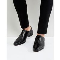 leather oxford shoes in black - black, River island