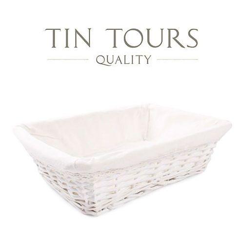 Biały koszy z materiałem / kosz prezentowy 33x24x10h cm marki Tin tours sp.z o.o.