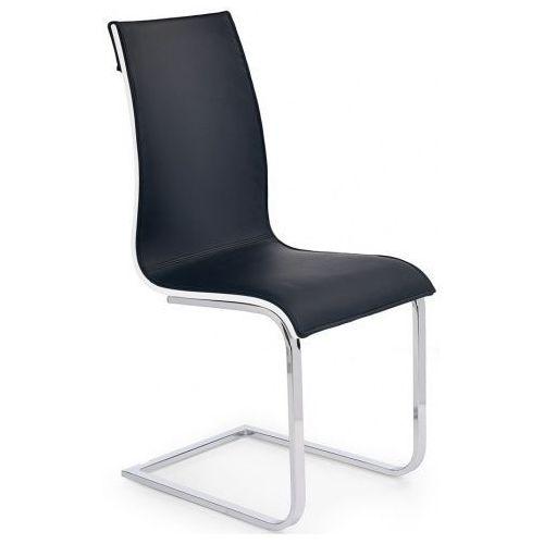 Tapicerowane krzesło Harry - czarne + biały połysk, kolor biały