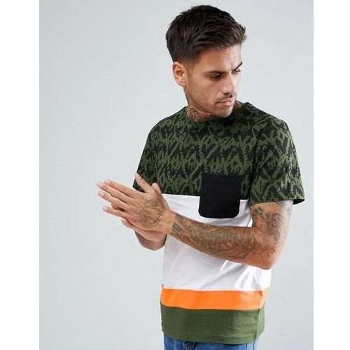 Another Influence Print and Colour Block T-Shirt - Green