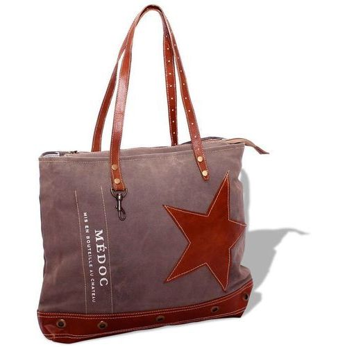 Torba na zakupy, shopper bag, płócienno-skórzana, brązowa, kolor brązowy