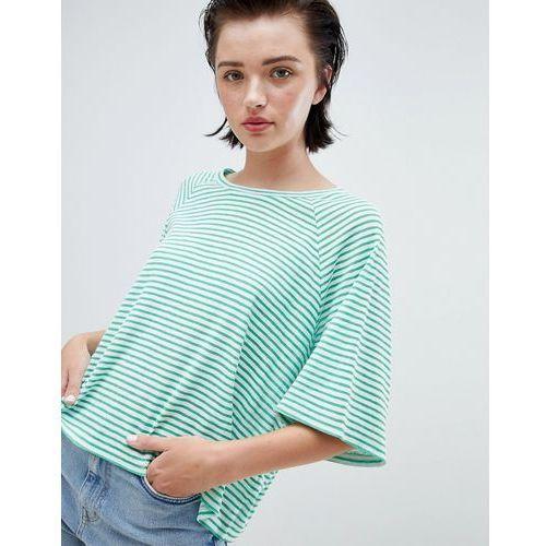 Weekday textured stripe t-shirt in green and white stripe - Green, w 3 rozmiarach