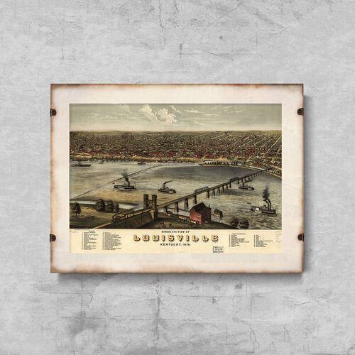 Vintageposteria.pl Plakat w stylu retro plakat w stylu retro stara mapa louisville kentucky