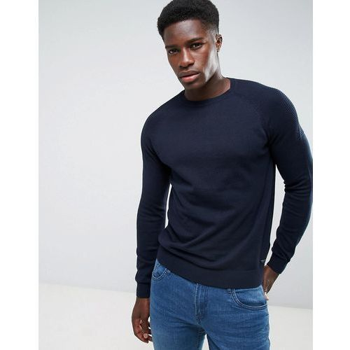 Threadbare textured shoulder knit jumper - navy