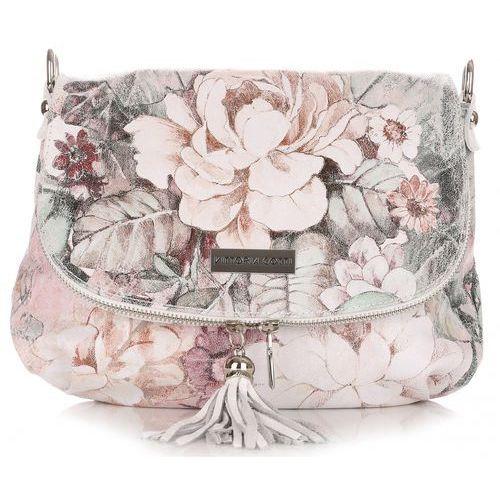 Torebka Listonoszka Skórzana firmy Vittoria Gotti w Kwiaty Multikolor Biała (kolory), kolor biały