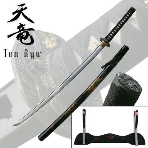 Płatnerze hiszpańscy Wspaniały miecz samurajski, katana ręcznie kuta ze stojakiem smok (tr-008)
