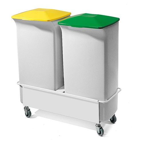 Zestaw do segregacji śmieci, 2 kosze 40 l, 1 wózek, 780x670x375 mm marki Aj produkty