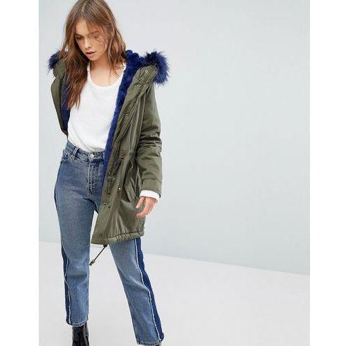 Bershka Parka Coat With Faux Fur Hood And Trim - Green, parka