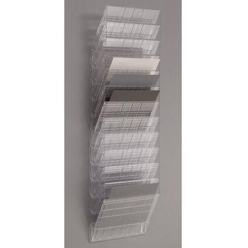 Uchwyt ścienny na prospekty, format poziomy, 12 x DIN A4, opak. 2 szt., przezroc