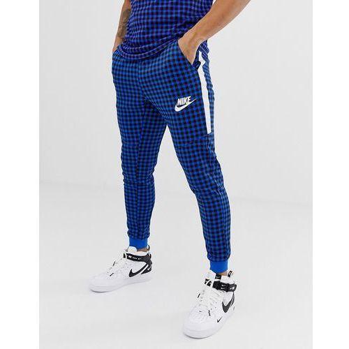 Nike Gingham Check Joggers In Blue BQ0676-480 - Blue, kolor niebieski