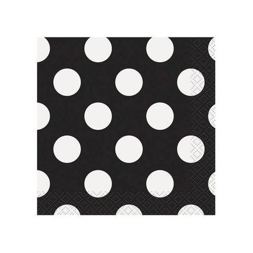 Unique Serwetki urodzinowe czarne w białe kropki - 25 cm - 16 szt.