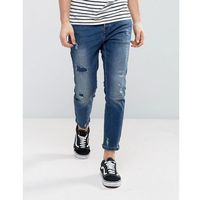 Pull&Bear Slim Jeans With Rips In Mid Wash - Blue, jeans