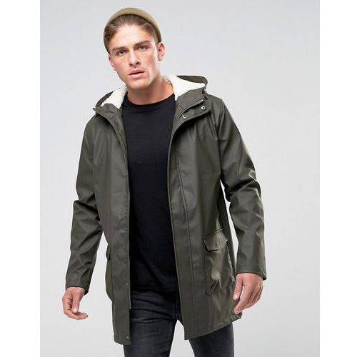 shine fishtail hooded mac with borg lining - green marki French connection
