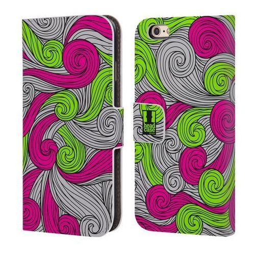 Head case Etui portfel na telefon - vivid swirls neon pink and green