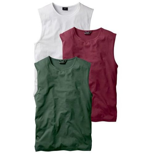 Shirt bez rękawów (3 szt.) Regular Fit bonprix bordowy + ciemnozielony + biały, w 5 rozmiarach