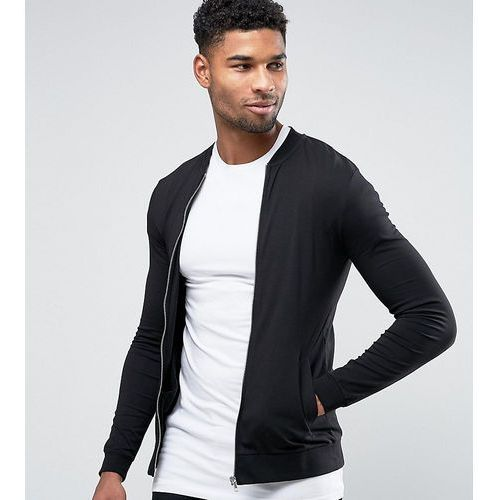 Asos tall muscle jersey bomber jacket - black