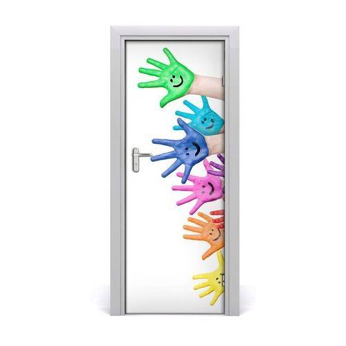 Naklejka samoprzylepna na drzwi Pomalowane dłonie