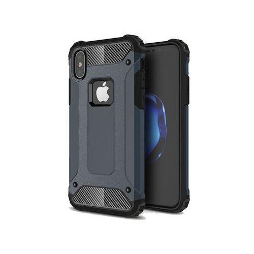 Etui Pancerne Alogy Apple iPhone X Hard Armor Granatowe + Szkło - Granatowy