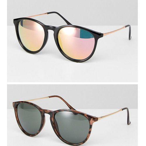 ASOS 2 Pack Skinny Keyhole Retro Round Sunglasses In Tortoise And Black - Multi, kolor czarny