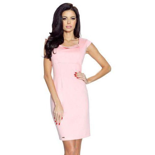 Jasno Różowa Sukienka Mini z Dekoltem Karo, kolor różowy