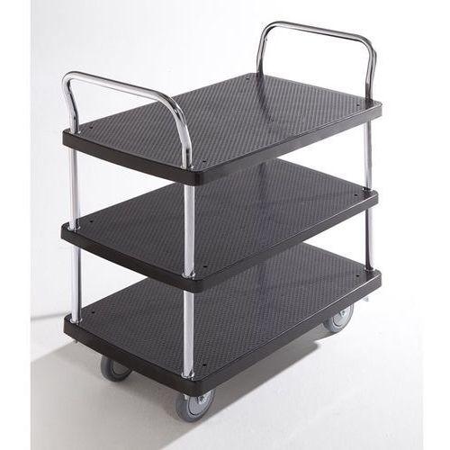 Wózek serwisowy, 3 piętra, 2 pałąk, nośność 150 kg. Solidne powierzchnie ładunko