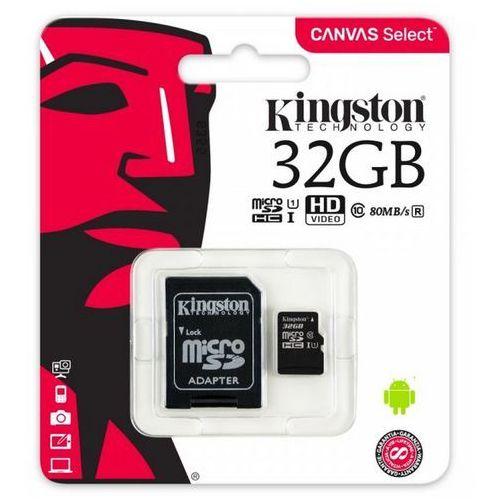 Karta pamięci microSDHC Kingston UHS-1 CLASS 10 32GB z odczytem do 80MB/s oraz adapter (5909182426125)