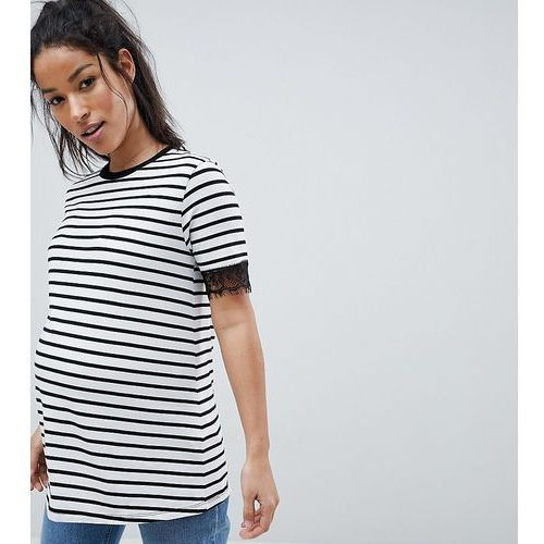 Asos maternity Asos design maternity t-shirt with lace trim detail in stripe - multi
