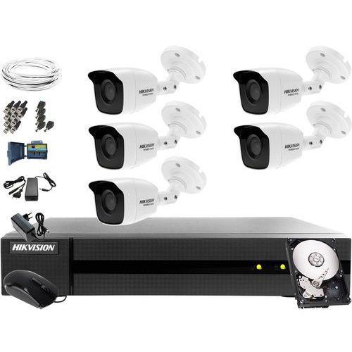 5 kamerowy hwt-b123-m zestaw do monitoringu hikvision hwd-6108mh-g2, 1tb, akcesoria marki Hikvision hiwatch
