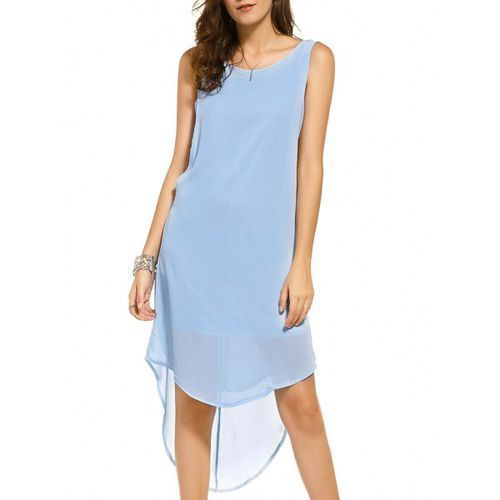 Casual Scoop Neck Sleeveless High Low Backless Dress For Women