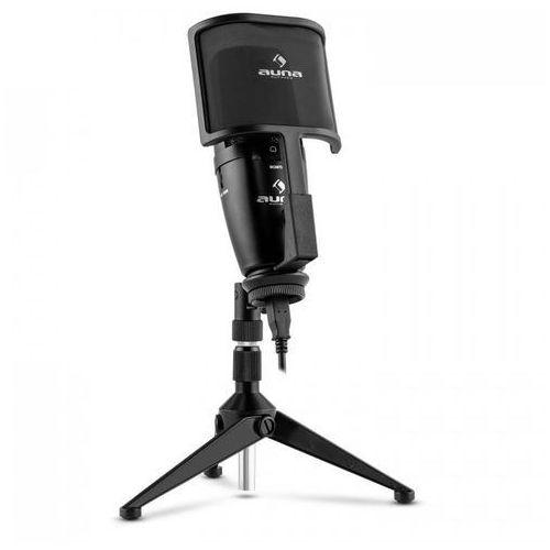 Auna Studio-pro mikrofon pojemnościowy usb wielkomembranowy statyw stołowy pop-filtr/osłona przed wiatrem